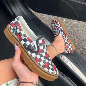 cherry checkered slip on vans